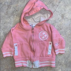 Pink Steelers zip up hooded jacket